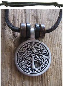 Lebensbaum-Amulett-Holz-Halskette-Leder-Herren-schwarz-Kette-Herrenkette-Baum