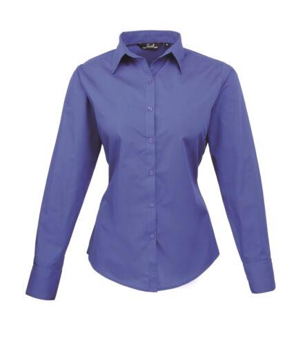 Work Shirt Premier Ladies Long Sleeve Poplin Blouse Casual Blouse Size 6-30