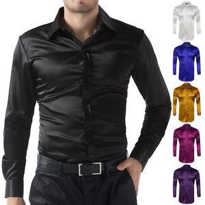 Men-039-s-Long-Sleeve-Casual-Shirt-Luxury-Wedding-Silk-Like-Satin-Dress-Shirt-Tops