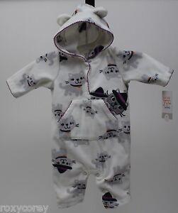 035330cfb Halloween Infant Carter s White Cats Fleece Jumpsuit Size 9 months ...