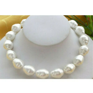 Huge-Large-Fashion-20mm-South-Sea-White-Baroque-Pearl-Necklace-18-034-Hang-Wedding