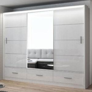 schwebet renschrank saintes 250 mit spiegel schiebet ren kleiderschrank schrank ebay. Black Bedroom Furniture Sets. Home Design Ideas