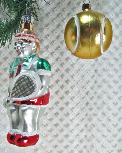 "Glass 142 Ornaments 2 Tennis Player 5/"" /& Ball 2/"" Sports Poland Vintage 1990/'s"