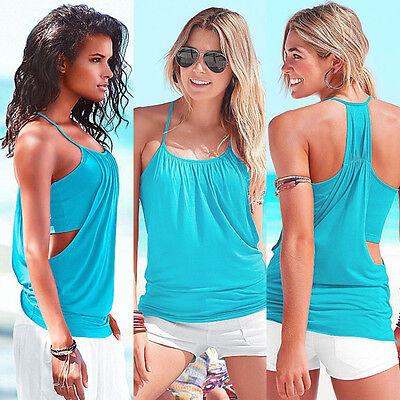 Women Ladies Summer Casual Off Shoulder Vest T Shirt Blouse Loose Tank Tops ZJ01