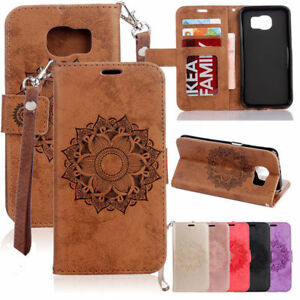 Painted-Magnetic-Strap-Leather-Wallet-Card-Stand-Case-Cover-For-Samsung-S5-J3-J5