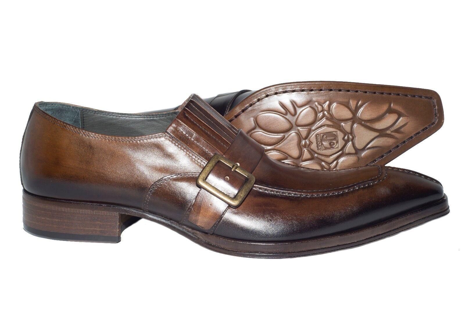 più economico Jo Ghost 158 Italian Uomo Marrone leather slip slip slip on scarpe with buckle  online al miglior prezzo