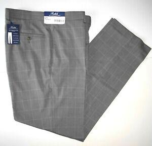 Polo-Ralph-Lauren-Mens-Dress-Pants-34x30-Light-Gray-Windowpane-Pleated-NWT