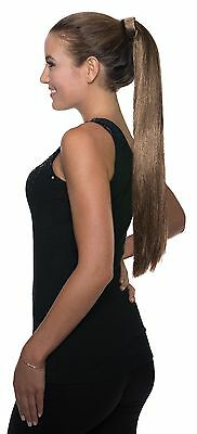 Womens Clip-On Ponytail Long Brown Costume Hair Comb-In Adult Pony Tail NEW