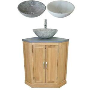 Bathroom Vanity Unit Free Standing Oak Corner Cabinet Grey Quartz Marble Basin Ebay