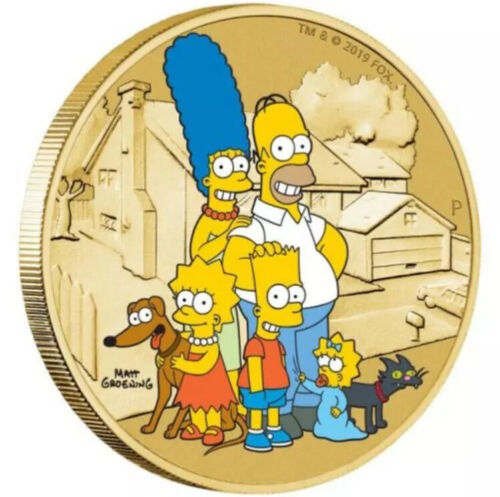 The Simpsons Family Coin Cover Stamp Aluminum Bronze Colorized Tuvalu homer bart