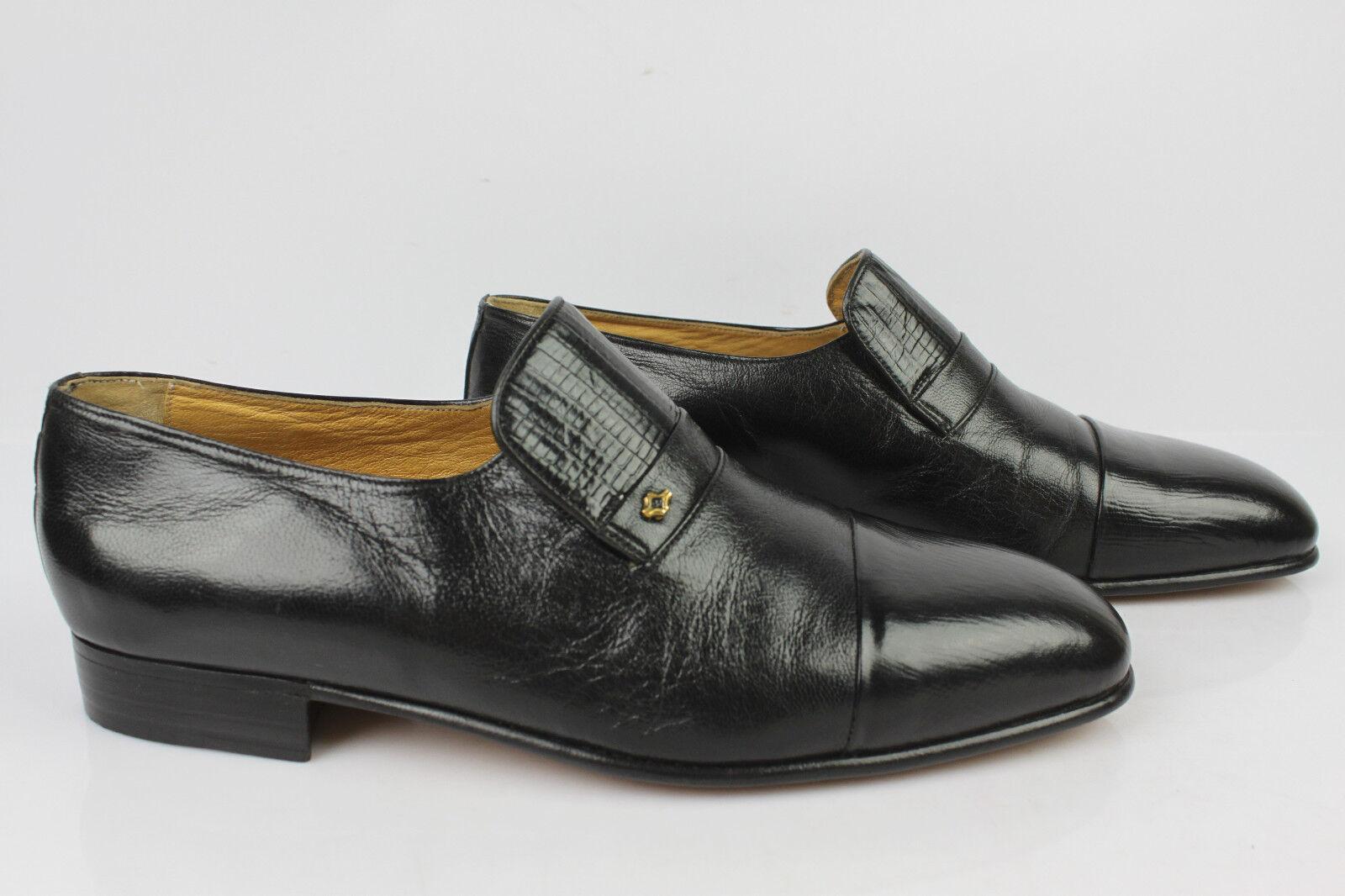 vintage Mokassiner Herstellung LANZONI Schuhe Italien Hand Herstellung Mokassiner Vollleder Schwarz de 38f17b
