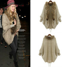 Womens Loose Fur Collar Sweater Batwing Sleeve Knit Cardigan Jacket Coat Outwear