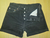 "VINTAGE + LEVI 501 BLACK DENIM SHORTS SIZE 10/12 W30"" HIGH WAIST/CUT OFF"