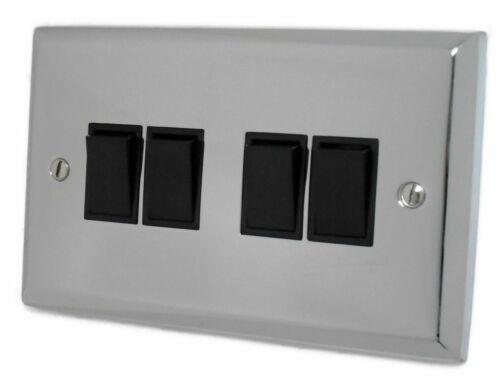 G/&h Spectre SC4B Plaque Chrome Poli 4 Gang 1 ou 2 Façon Rocker Interrupteur De Lumière