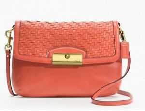 Image Is Loading Nwt 238 Coach F49099 Kristin Woven Leather Flap