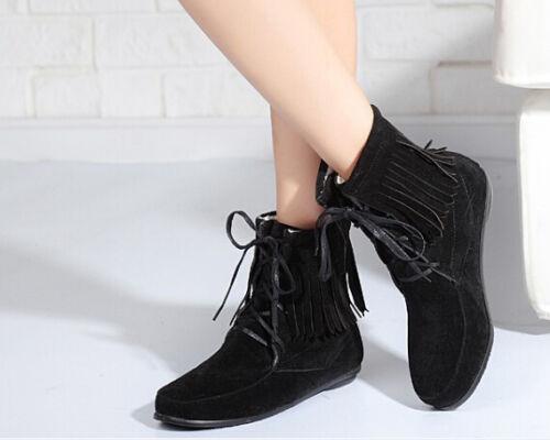 Cuir Talon Franges Comme 1 Bottes 5 Cm Chaussures Bottines Femmes Pour pzaawf