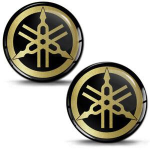 2-Resinati-3D-Adesivi-Yamaha-R1-R6-Diapason-Logo-Emblem-Oro-Auto-Moto-Casco-Bici