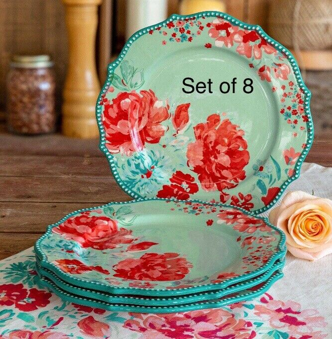 The Pioneer Woman Gorgeous Garden Vintage 10.75  Dinner Plates Set of 8 NEW