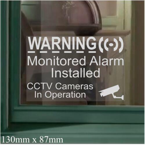 6 x 130mm d/'alarme de surveillance installé CCTV Caméra Sécurité Autocollant Fenêtre avertissement