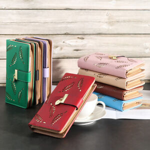 Bag-Clutch-Case-Long-Handbag-Card-Holder-Purse-Leaves-Wallet-Leather-Purse