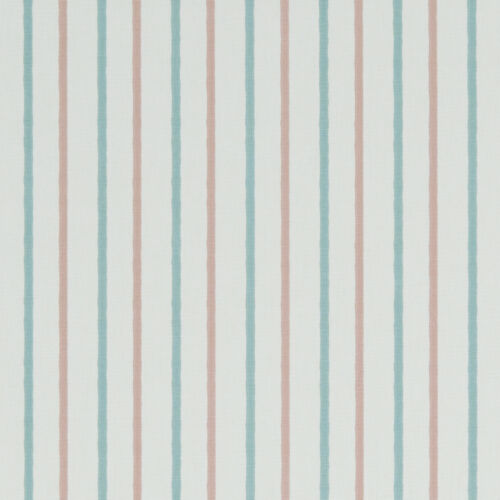 Walcott Pastel Duck Egg and Pink Nautical Stripe Curtain and Upholstery Fabric
