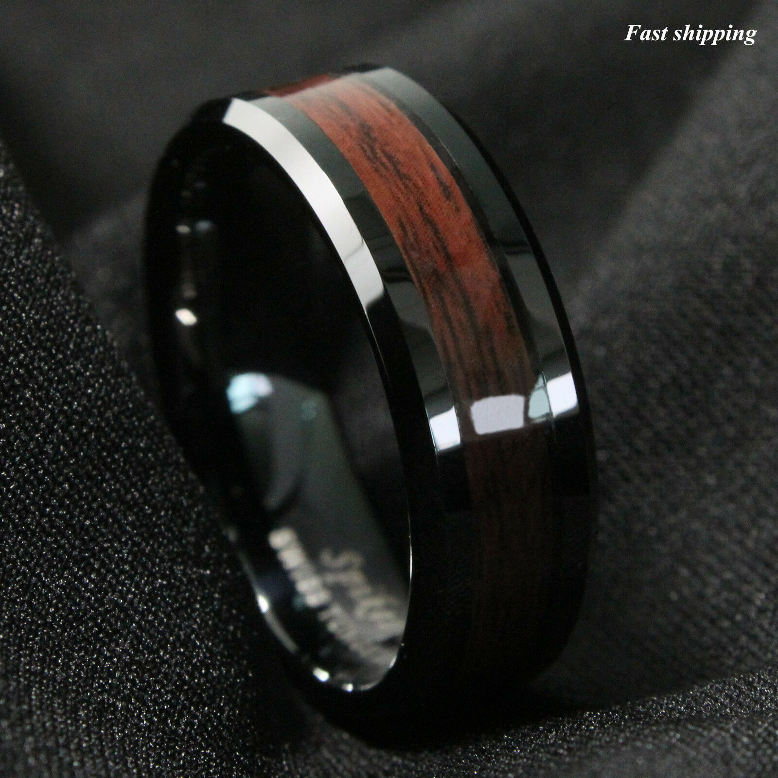 ring mens carbide wedding band center itm black bands brushed tungsten silver gold women