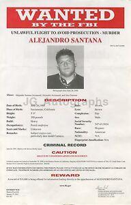 Fbi Wanted Notice 2001 Alejandro Santana/murder And Unlawful Flight