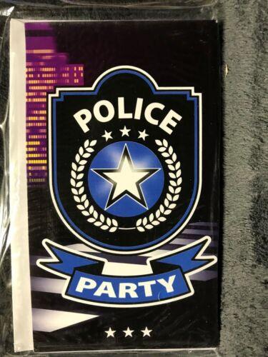 """/"""" 8 Einladungskarten mit Umschlägen /"""" Kinder-Geburtstag Polizei Party"""