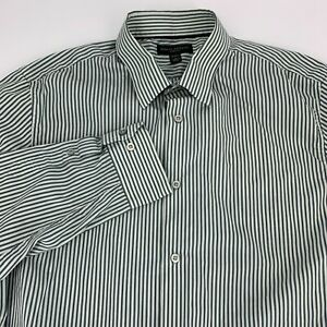 Banana-Republic-Mens-Slim-Fit-Long-Sleeve-Button-Down-Shirt-Size-L-Green-Stripe