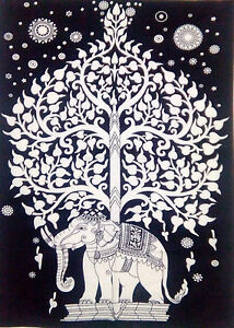 New White Elephant Tree of Life Meditation Poster Wall Hanging Tapestry 40*30