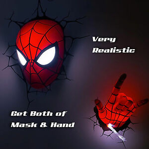 Hot Marvel Avengers Spider Man Mask Head Face Hand 3d