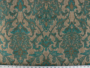 Drapery Upholstery Fabric Sussex Traditional Chenille Jacquard - Turquoise