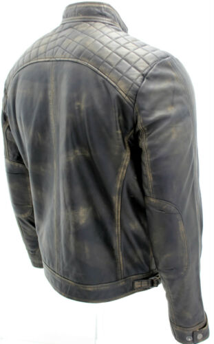 casual trapuntata vintage retro cerniera Giacca da uomo nera motociclista da con FcEa8w