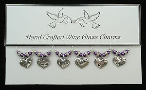 Wedding Silver Heart Wine Glass Charms Top Table Handmade Just for You