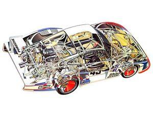 Original Martini Porsche 935 Cutaway Card Stock Poster German Technical Art