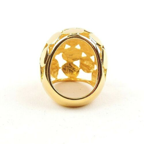 Free Gift Packaging Stainless Steel Gold Plated Honeycomb Dome Ring