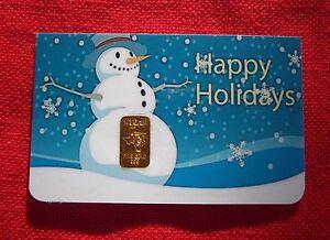 PERFECT STOCKING STUFFER In Assay 1 gram GOLD CGA BULLION HAPPY HOLIDAY Gold Bar