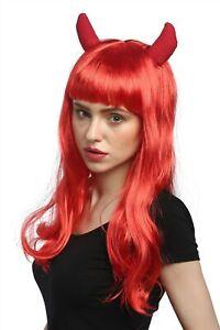 Perruque-Femmes-Halloween-Carnaval-Long-Rouge-Cornes-Horns-Diablesse-Frange