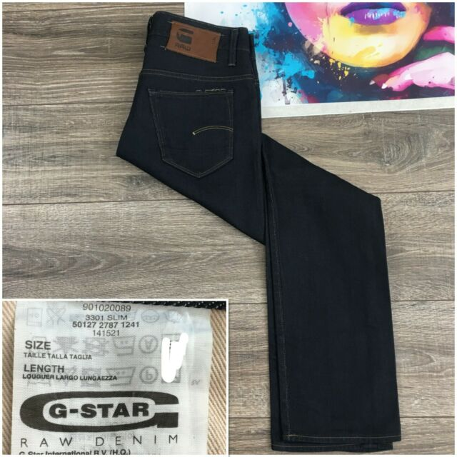 G-Star Raw Men/'s Jeans Trousers 3301 Slim Fit Vintage Black//Grey