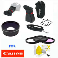Wide Angle Lens + Macro + Lcd Viewfinder + Pro Filter Kit For Canon Eos Rebel