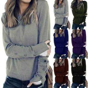 Women-Long-Sleeves-Split-Buttons-Blouse-Sweater-Sweatshirt-Jumper-Pullover-Tops