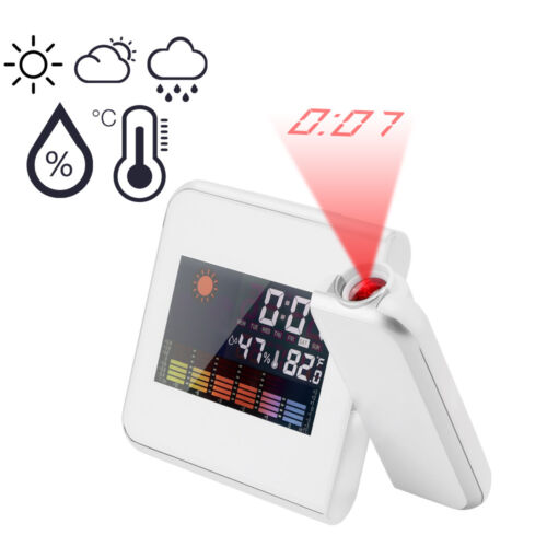 Color Screen Weather LCD Snooze Alarm Digital Projection Clock w//LED Backlight