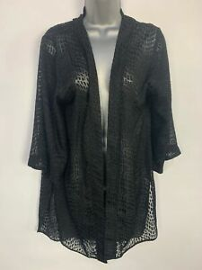 WOMENS-DOROTHY-PERKINS-BLACK-SHEER-PATTERN-DRAPE-CARDIGAN-COVER-UP-SIZE-UK-10