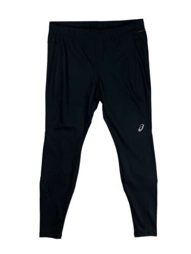 ASICS Mens Cold Weather Fleece Lined Running Tight Pants Grey//Black New