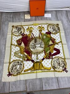 Hermes Silk Scarf IN BOX Napoleon Jacquard Bees LeDoux Artist Red Ledoux