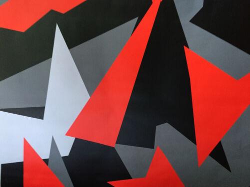 Camouflage Autofolie 900cm x 152cm Luftkanäle Schwarz weiß Grau Rot #33