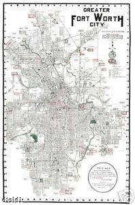 Details about 1920 Fort Ft Worth TX City Street Map-24\