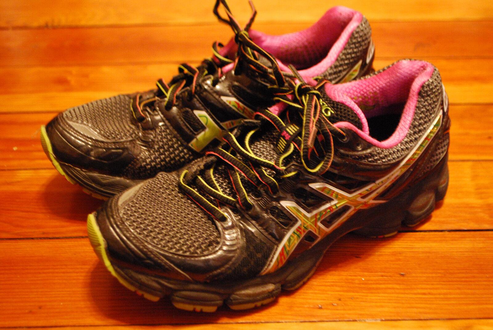Women's Women's Women's Asics Gel Nimbus 14 Black   Pink   Green Running Sneaker (8) 2bbcdf