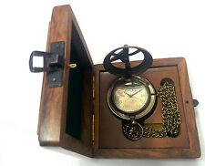 Artshai Antique look sundial design pocket watch with Sheesham box,diwali gift