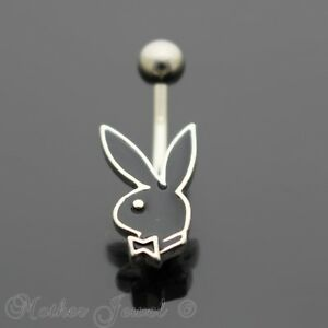 16g Black Playboy Bunny Rabbit Belly Button Navel Silver Surgical Steel Ring Diversified Latest Designs Other Wedding Jewelry